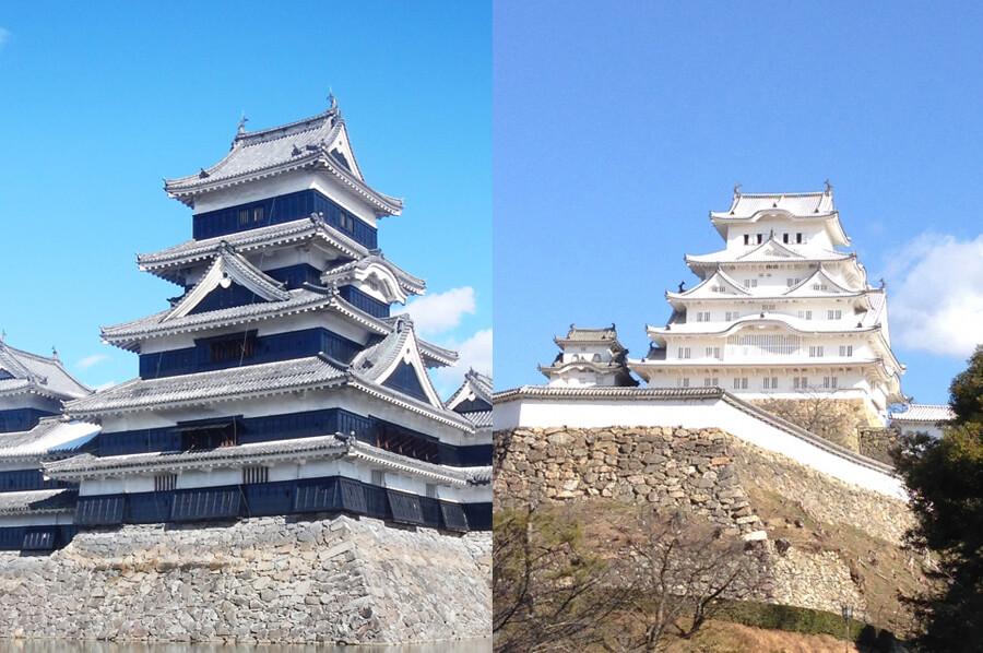 黒い城・白い城(松本城・姫路城)
