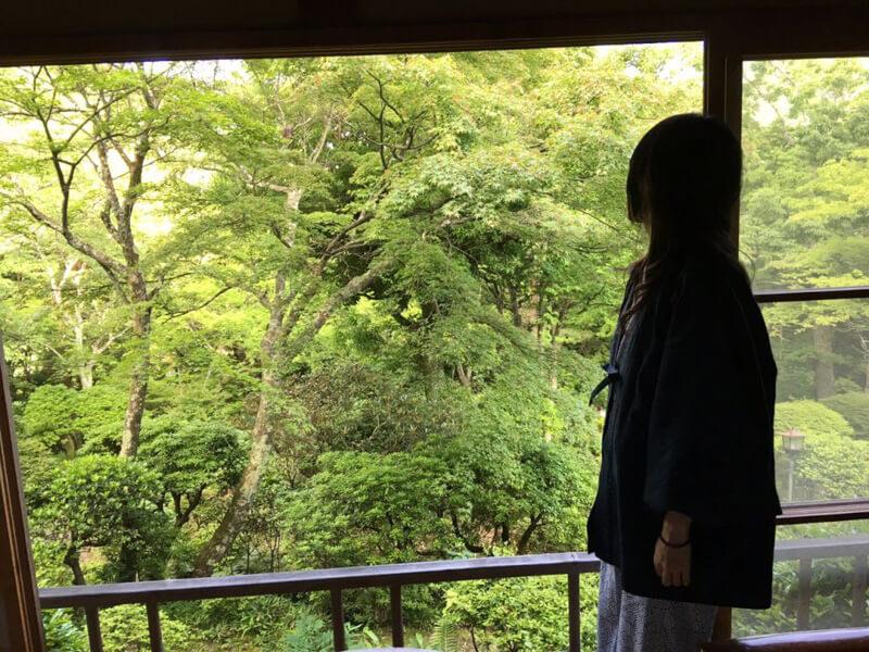 窓からの景色とたたずむ姿