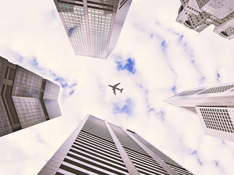 北米を飛ぶ飛行機のイメージ