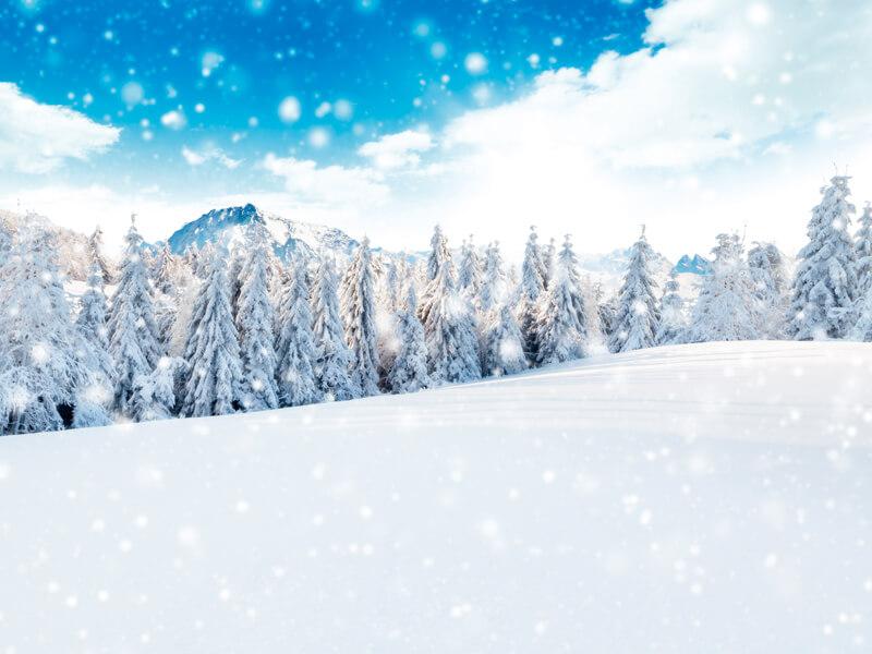 ドロミテの雪原