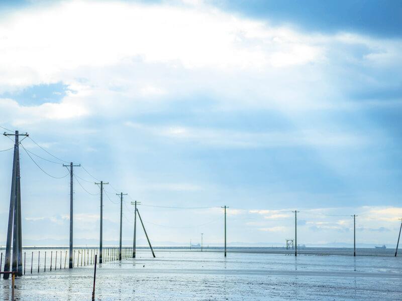 千葉県江川海岸の海中電柱