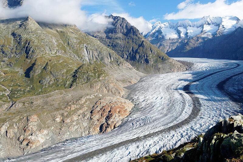 スイス観光のハイライト、世界遺産のアレッチ氷河を見てみたい!