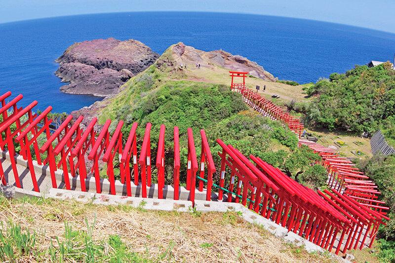 青い海と真っ赤な鳥居のコントラストが絵になる♪山口県にある「元乃隅神社」