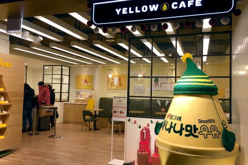 バナナ牛乳をテーマにした「YELLOW CAFE」。写真提供:韓国観光公社