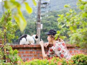 猫と戯れる田中里奈さん