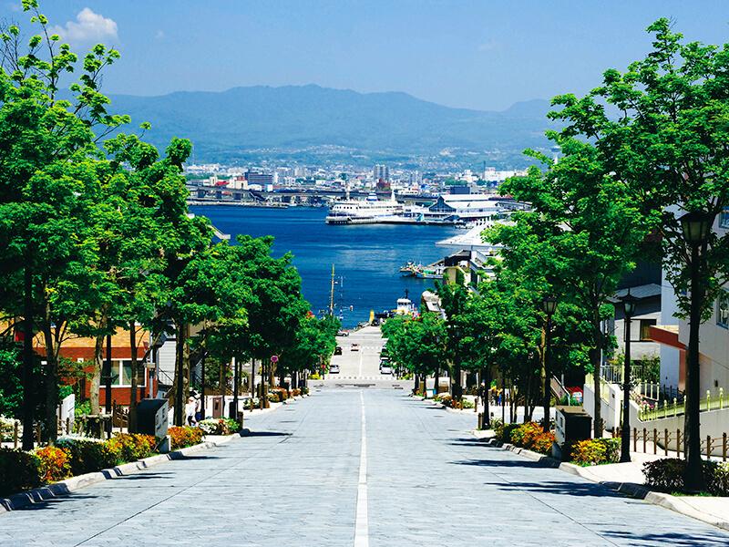 八幡坂から函館港の街並み