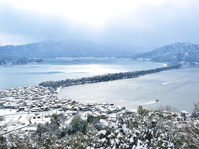 雪景色の天橋立