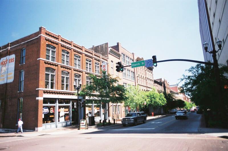 アメリカ_ナッシュビル-歴史地区の街並み