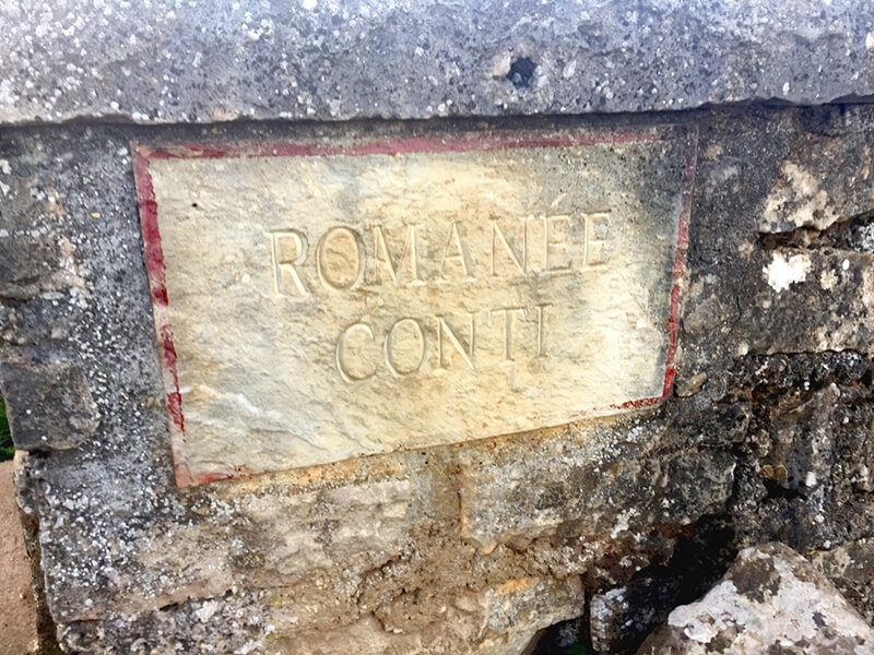 ロマネコンティの畑の看板