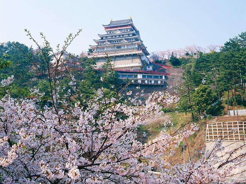 桜の花と熱海城