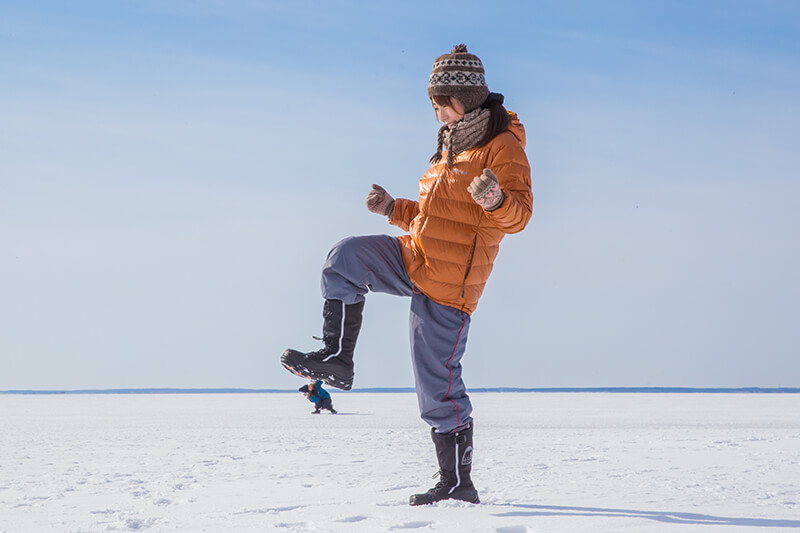 氷平線ウォーク トリック撮影