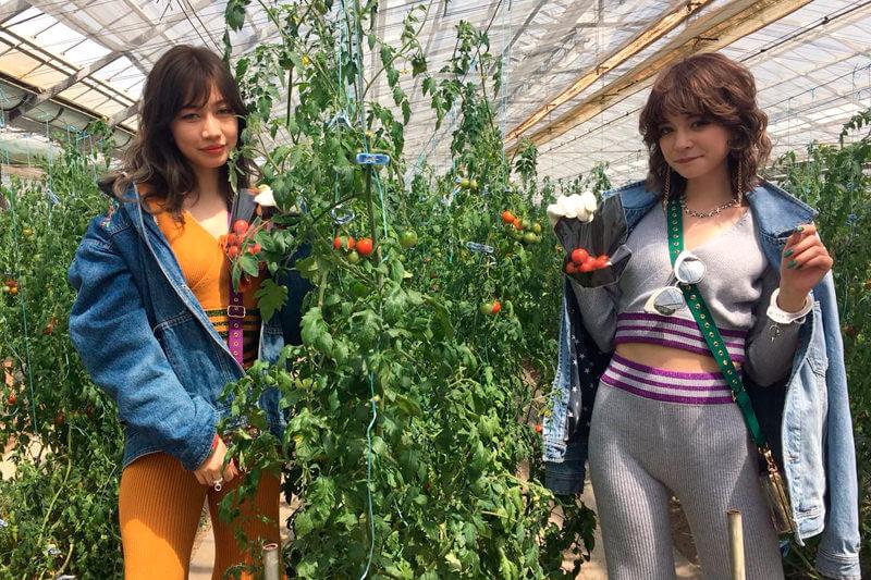 西島園芸団地。左から瑛茉ジャスミン、山本ソニア ©TBS