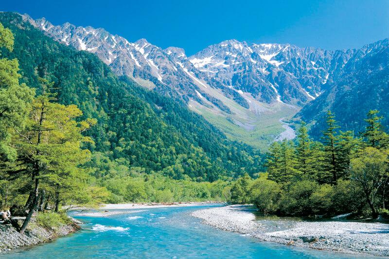 上高地 梓川と穂高岳