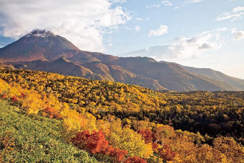 知床峠の紅葉と羅臼岳