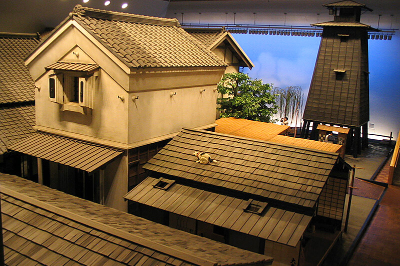 An Edo era neighborhood reconstructed indoors.