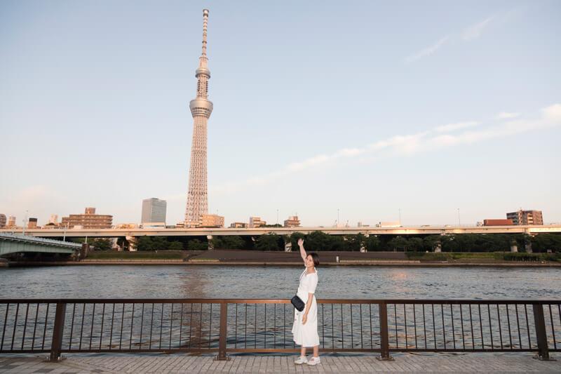 隅田川の向こうには東京スカイツリー!