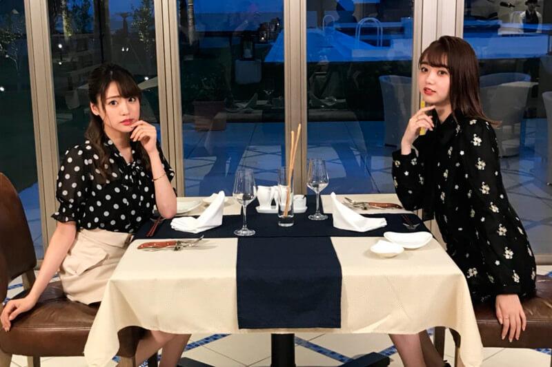 INFINI TO HOTEL & SPA。左から志田友美、江野沢愛美 ©TBS