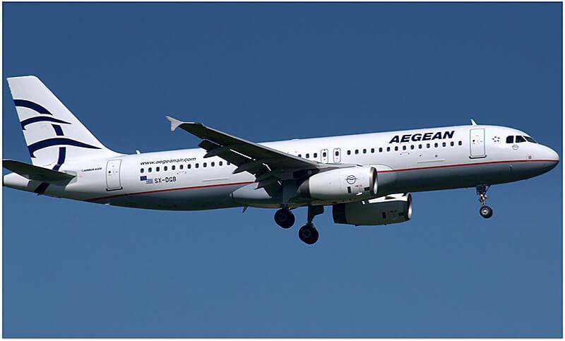エーゲ航空の飛行機 ギリシャ旅行のイメージ