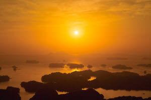 展海峰からの九十九島 夕日