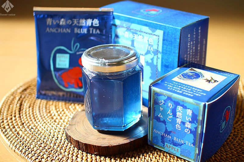 青森のお土産品:「青色ジャム」・「ANCHAN BLUE TEA(TEA BAG TYPE)」