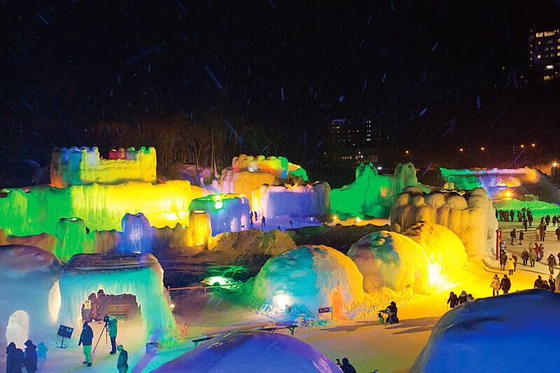 層雲峡氷瀑まつり 層雲峡氷瀑祭り ライトアップ 2014