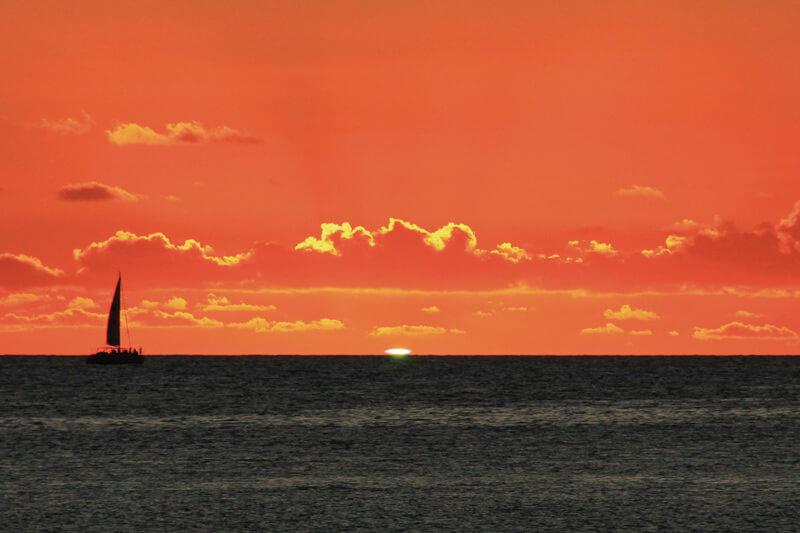 宮古島のサンセット 奇跡の光 グリーンフラッシュ 2011年8月