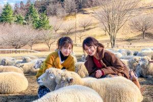 伊香保グリーン牧場。左から大澤玲美、西川瑞希 ©TBS