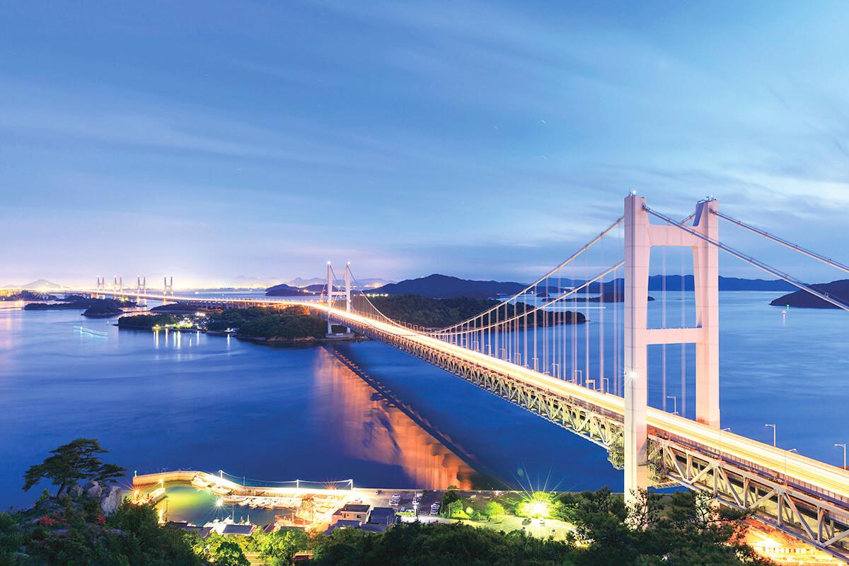 瀬戸大橋の夜景を眺める ライトアップ