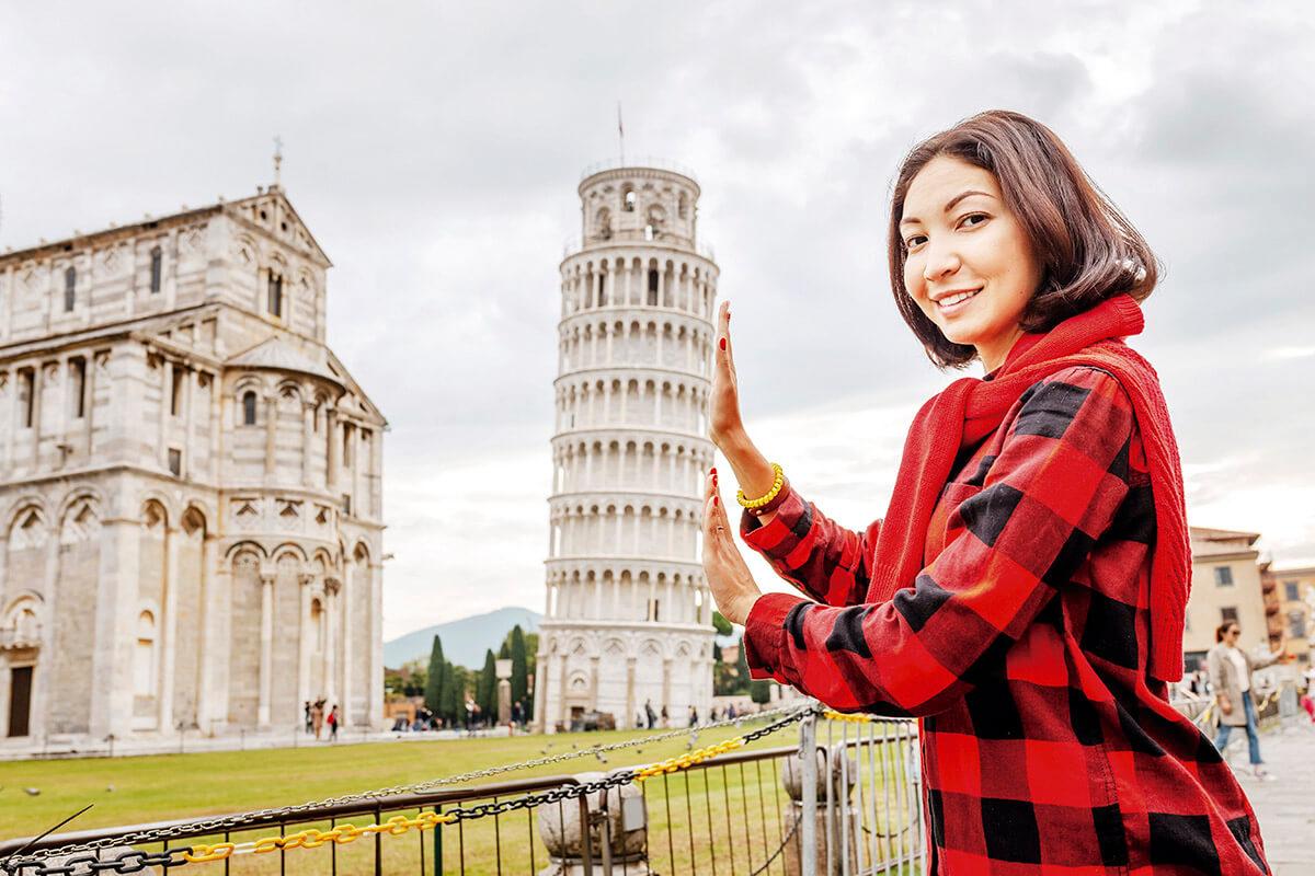 ピサの斜塔のトリック写真