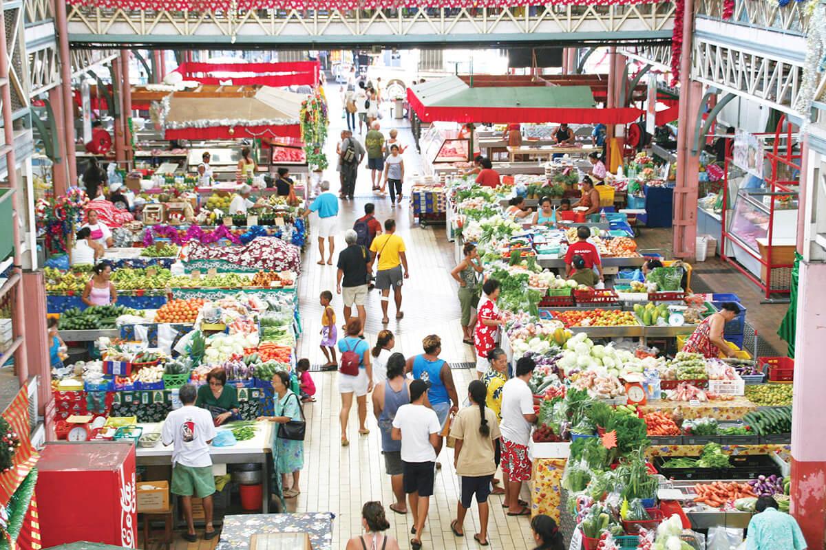 タヒチ島パペーテの市場