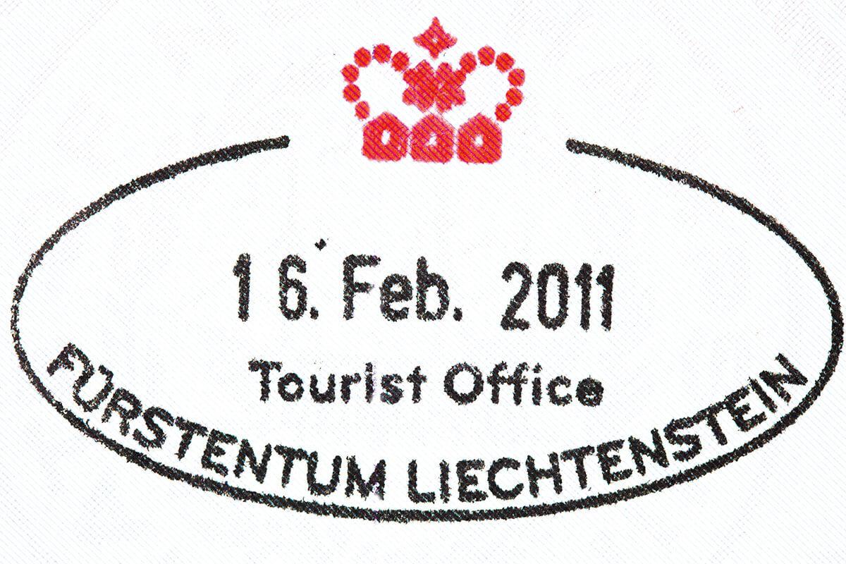 リヒテンシュタイン公国 パスポート スタンプ(2011年2月現在のデザイン)