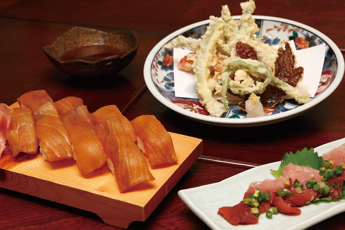 丸丈 島寿司 島野菜の天ぷら ウミガメの刺身