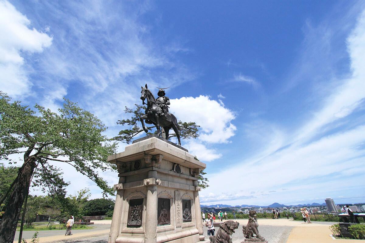 仙台 青葉城の伊達政宗騎馬像