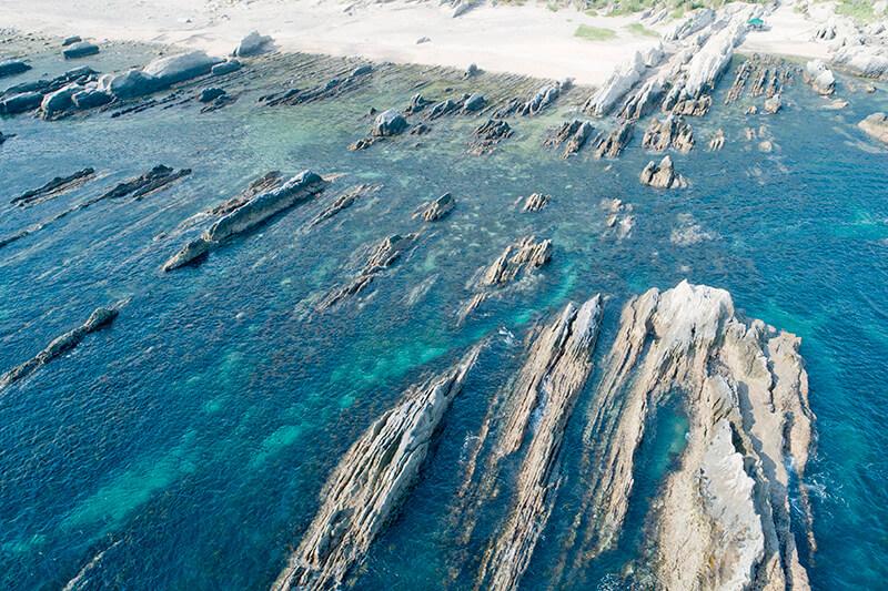 根本海岸 屏風岩 空撮