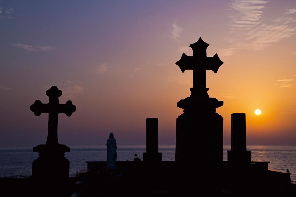 渕ノ元カトリック墓碑群の夕景