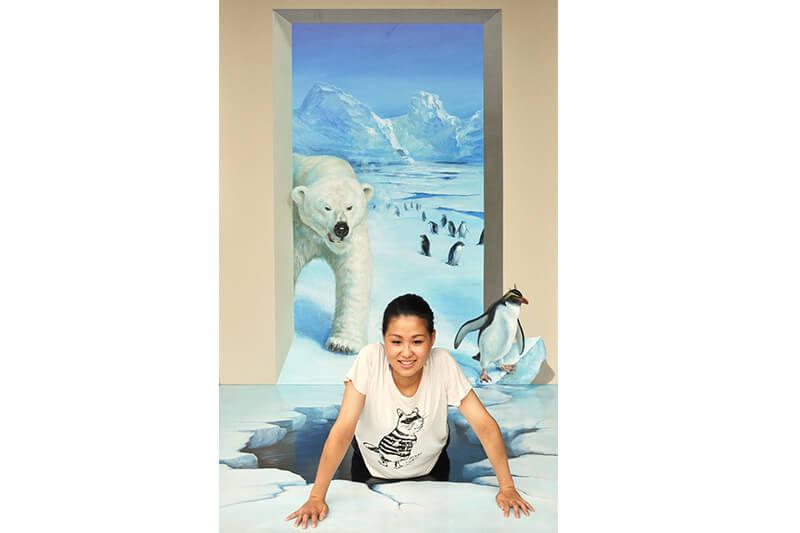 熱海トリックアート迷路館 白熊とペンギン