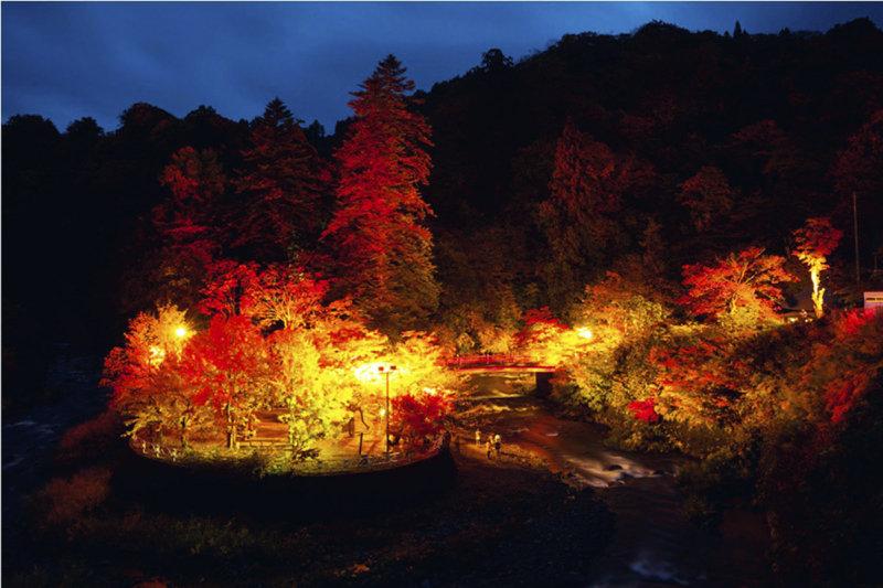青森県「中野もみじ山」で紅葉狩りを。 特設床やライトアップが楽しめる!