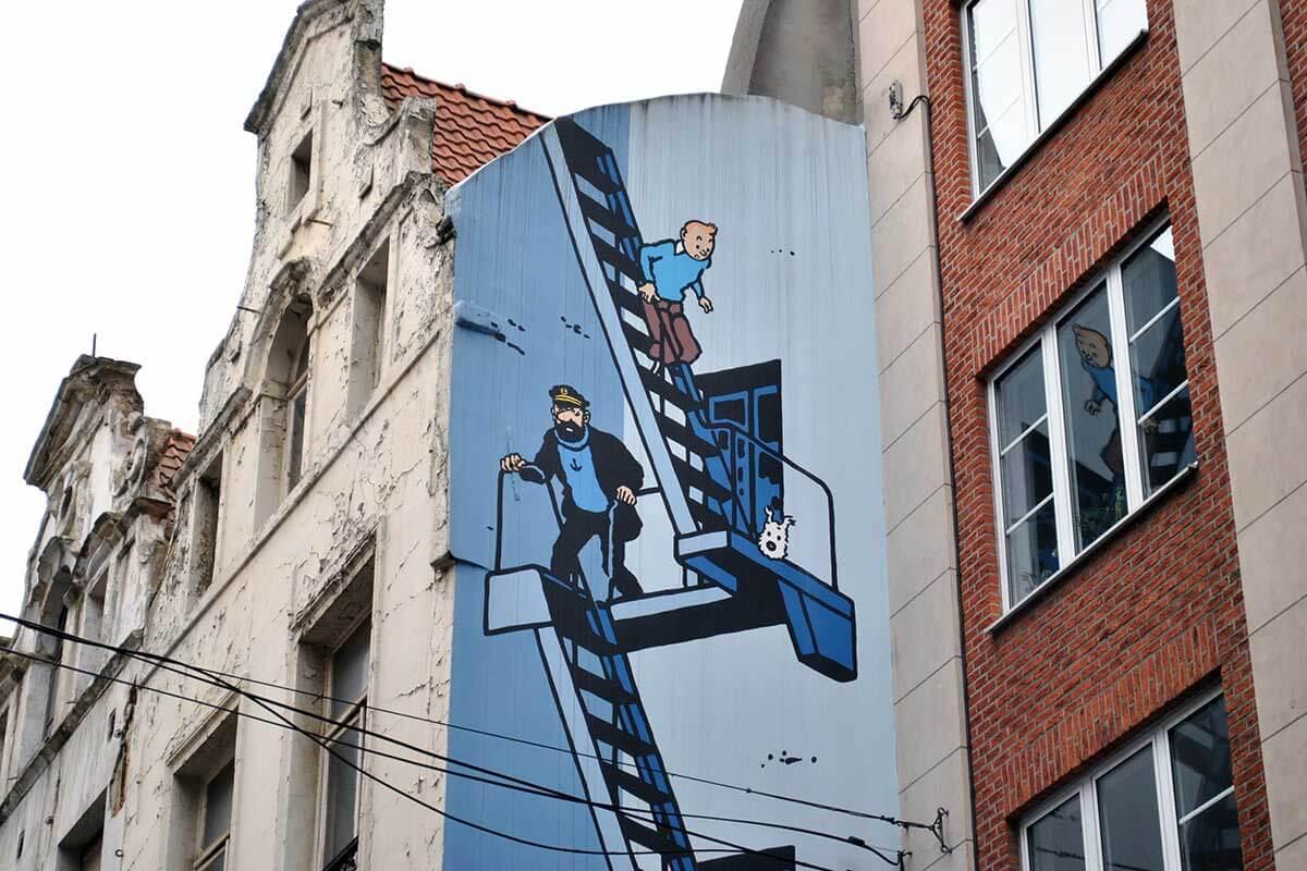 ベルギー ブリュッセル タンタンのウォールアート